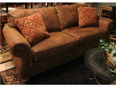 Broyhill Laramie Sofa - Like New Condition! Priced new at $789. Microfiber, Brown, 2 Tapestry Pillows. - Buy it for $599!!!