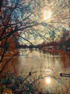 Sun Lake Daffodils, Countryside, Artsy, Sunset, Painting, Painting Art, Paintings, Sunsets, Painted Canvas