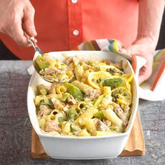 """Lemony Tuna and Pasta The definitive """"cupboard casserole"""" gets fresh with dashes of lemon and dill, rich olive oil-pack tuna, and the crunch of coarsely chopped celery. Top with lemon slices and capers and it's ready for company."""