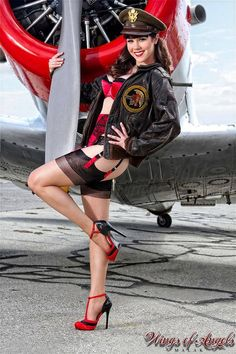 """Claire Sinclair photographed by M A L A K Photography.com at Yanks Air Museum from the wonderful """"Wings of Angels"""" series   our Michael Malak gallery is at http://www.thepinupfiles.com/malak.html"""