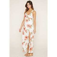 Forever 21 Women's  Floral Maxi Dress ($23) ❤ liked on Polyvore featuring dresses, white v neck dress, cut out maxi dress, v neck maxi dress, maxi dress and white maxi dress