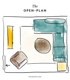 The Layout: In an open-plan room that connects to a dining area and kitchen, separate the space with a large L-shaped sectional, thereby creating a living area enclave.