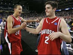 Stephen Curry, left, led the 2008 Davidson Wildcats to the Elite Eight, where they nearly beat event... - Michael Conroy, AP