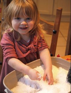 Fake Snow Sensory Bin - Here Come the Girls | Here Come the Girls