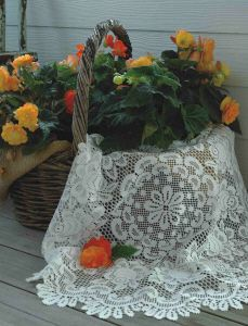 Rose table lace to brighten up any room in your house.