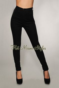 Jet black high waist skinny jeans
