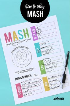 to play MASH + a free printable game sheet Remember the MASH game? Fun game where kids get to predict their future. How to play MASH.Remember the MASH game? Fun game where kids get to predict their future. How to play MASH. Things To Do At A Sleepover, Fun Sleepover Ideas, Sleepover Birthday Parties, Girl Sleepover, Sleepover Activities, Slumber Party Games, Activities For Girls, Games For Teens, Birthday Party Games