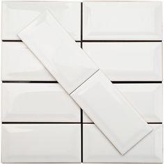 Basic 3x6 Beveled White Ceramic Tile - Ceramic - Subway Tile