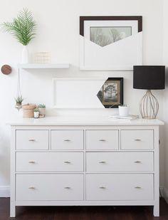53 Amazing Minimalist Interior Design Tips - About-Ruth Bedroom Dresser Styling, Bedroom Dressers, Bedroom Decor, Bedroom Apartment, Hemnes Drawers, 6 Drawer Dresser, Junk Drawer, Ikea Dresser, Tall Dresser