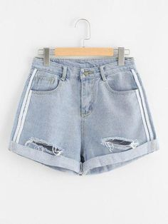 Rips Denim Shorts Blue Women Loose Pockets Button Fly Shorts 2019 Basic Mid Waist Summer Shorts Blue L Rips Denim Shorts Blau Damen Lose Taschen Knopfleiste Shorts 2019 Basic Mid Waist Summer Shorts Blau L Ripped Shorts, Ripped Denim, Denim Shorts, Denim Fashion, Fashion Pants, Fashion Outfits, Fashion Styles, Summer Outfits, Cute Outfits