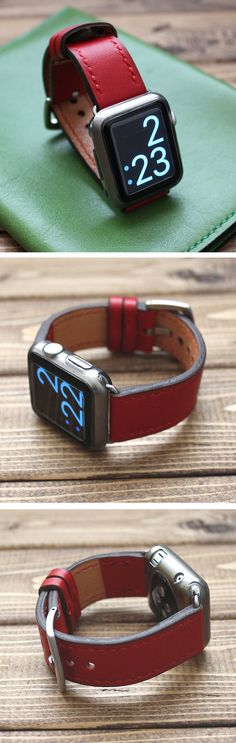 Hand Stitched Apple Watch Strap band in Soft RED Italian Leather. It is very soft and light watch strap.