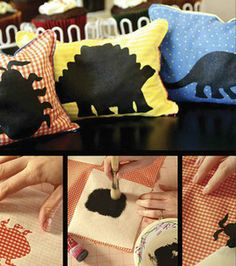 dino bean bags :) ....you could totally adapt this to pillows! Or, a silhouetted dinosaur quilt would be adorable!!!