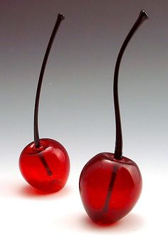 """""""Cherry Perfume Bottle"""" - Cherry perfume bottles are carefully crafted by hand, mouth blown from brilliant ruby red glass and feature a black stem that acts as a stopper/dropper."""