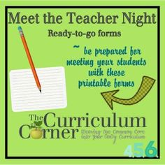 FREE Meet the Teacher Printables~  Lots of print-and-use forms.  Chances are there's at least one that will save you time!