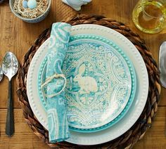 turquoise easter plates
