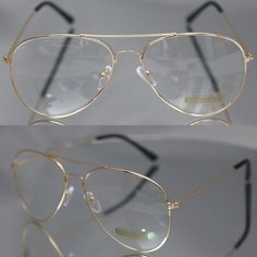 Aviator driving Designer Glasses Unisex Retro Gold Metal Frame Clear Lens  in Health & Beauty, Vision Care, Other Vision Care | eBay!
