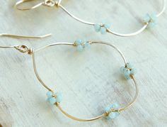 Large Cloud Gold Hoop Earrings Amazonite Light Mint Green Wire Wrapped Pretty Jewelry
