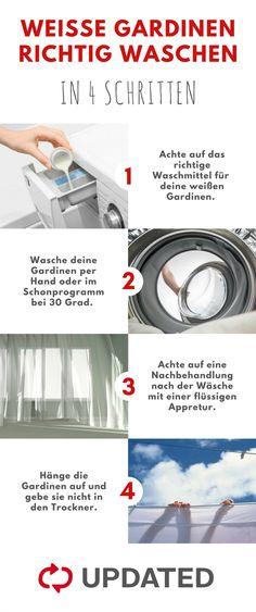 Entferne den Grauschleier in deinen Gardinen: UPDATED zeigt dir, wie du deine weißen Gardinen richtig wäschst. #waschen #Gardine #Haushalt #Lifehacks #Alltag