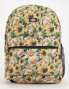 Dickies-FLOWER-POWER-Sunflower-Print-Backpack-Student-School-Book-Bag-NEW