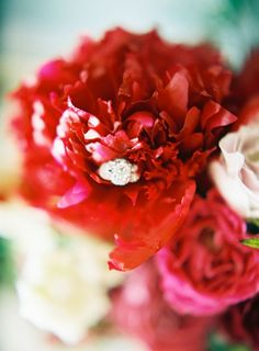 Three Stone Engagement Ring with Crimson Charm Peonies | Marissa Lambert Photography | http://heyweddinglady.com/botanical-opulence-wedding-red-plum/