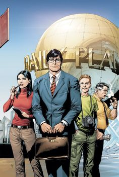 The Daily Planet (L 2 R: Lois Lane, Clark Kent {Superman}, Jimmy Olsen and Perry White) Superman And Lois Lane, Superman Art, Superman Family, Batman, Clark Kent, Comic Book Artists, Comic Books Art, Comic Art, Movie Posters