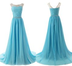 Chiffon charming Prom Dresses, Floor-Length Evening Dresses, Prom Dresses, A-Line Chiffon prom dress fold handmade crystal sequined prom dress