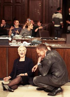 "Judi Dench and Daniel Craig on the set of ""Skyfall"""