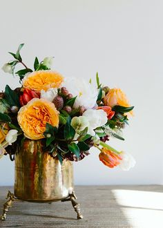 One of Our Favorite Peonies Arrangements - Gorgeous DIY floral arrangement in a vintage ice bucket - Peony Arrangement, Rose Arrangements, Beautiful Flower Arrangements, Fresh Flowers, Beautiful Flowers, Exotic Flowers, Fall Flowers, Purple Flowers, Ikebana