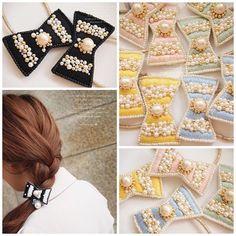 * * 3月10日販売開始* * ブランド → #nocoa 商品→ #ヘアゴム * #までみゅ~ #ハンドメイド #handmade #ハンドメイドアクセサリー #ビーズ刺繍 #リボン