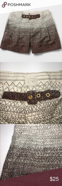 "Anthropologie Coquille Scribble Shorts ✔️Excellent Condition ✔️Cinching Belt ✔️Inseam: 5"" approx. ✔️Ivory/Green/Brown ✔️Linen/Cotton Blend Anthropologie Shorts"