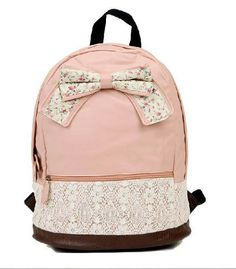 Hey, I found this really awesome Etsy listing at http://www.etsy.com/listing/157584221/cute-lace-pink-or-brown-bow-backpack