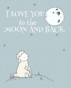 lamb nursery art, i love you to the moon and back, by sweet melody designs