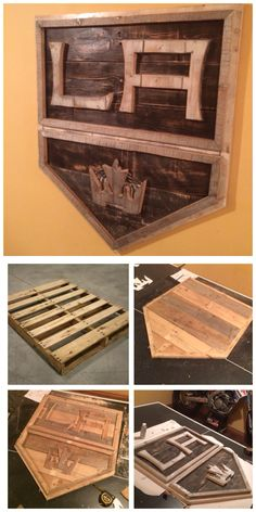 3D Pallet Board Signs. Cut out pallet boards painted and sanded. LA Kings hockey club. DIY Do it yourself