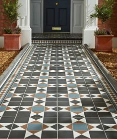 Practical, durable but on trend outdoor tiles from Topps Tiles. Front Garden Path, Front Path, Front Door Steps, Garden Paths, Terrace Garden, Front Doors, Hall Tiles, Tiled Hallway, Blue Hallway