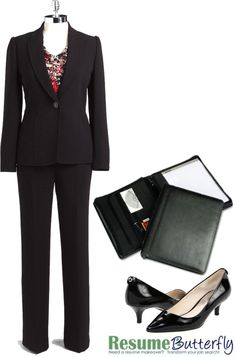 Classic Suit - Job Interview Outfit - www.ResumeButterfly.com, created by getsnazzy on Polyvore