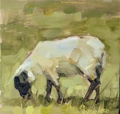 "Vintage French Soul ~ Daily Paintworks - ""Spring Sheep"" - Original Fine Art for Sale - © Brande Arno Sheep Paintings, Animal Paintings, Cow Painting, Painting & Drawing, Sheep Art, Fine Art Auctions, Impressionist Art, Fauna, Claude Monet"
