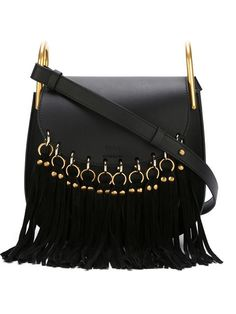 Chloé Hudson Small Fringed Black Leather Shoulder Bag off retail 80560d8aeed89