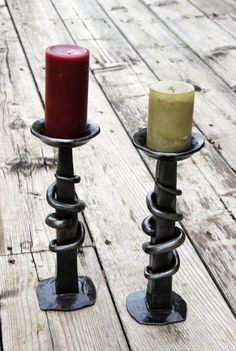 Hand Forged Candle Holders by Metcalfe Iron Works