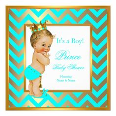 Prince Baby Shower Boy Gold Teal Blue Blonde