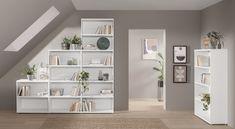Étagère CASE - étagère modulable comme étagère escalier sous pente Slanted Ceiling, Shelving, Room, Dressing, Home Decor, Google Search, Grey, Cheap Bookcase, Wall Shelves