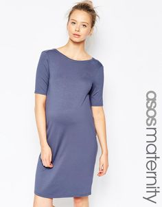 Image 1 of ASOS Maternity Easy Dress with Cowl Back and Short Sleeve