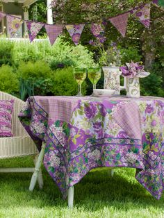 Purple Patchwork Tablecloth | Table Linens & Kitchen, Tablecloths :Beautiful Designs by April Cornell
