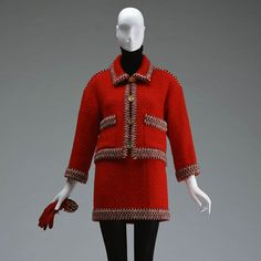 Red wool tweed suit designed by Karl Lagerfeld for Chanel in Skirt and jacket comes with matching gloves. Chanel Boutique, Tweed Suits, Digital Archives, 20th Century Fashion, Costume Institute, Body Piercings, Tweed Jacket, 2000s, Karl Lagerfeld