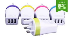 Buy 3-in-1 USB UK Charger Plug - 5 Colours for just £6.99 Make sure no-one hogs the charger with this3-in-1 USB UK Charger Plug      3 USB slots for simultaneous charging so you're good to go      Choose from pink, green, blue, yellow or purple so you know it's yours.      Suitable for UK wall sockets      Stylish and compact design, suitable for home use or at the office      Ideal for...