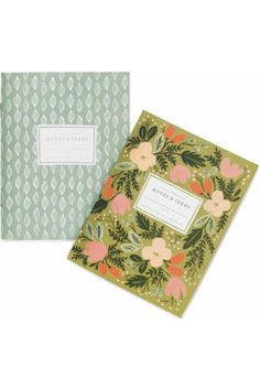 """For the creative woman with great ideas that appear at any time and place, it's a good idea to have a notebook handy. This charming pair of pocket notebooks easily fits in a purse or glovebox. The set features both notebooks shown, with the design going around the back as well. Each has 64 pages and features saddle stitched bindings and gold foil metallic accents. The pages are unruled and natural vellum, while the cover is uncoated.    Measurements:4.25"""" x5.5""""   Moss Garden Notebooks by…"""