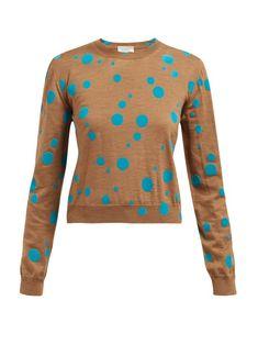 Isa Arfen Flocked Polka Dot Wool Sweater In Blue Multi Isa Arfen, Tailored Trousers, Wool Sweaters, Designing Women, Color Pop, Polka Dots, Men Sweater, Long Sleeve