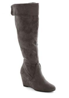 Gastropub Crawl Boot - Mid, Faux Leather, Grey, Solid, Wedge, Good