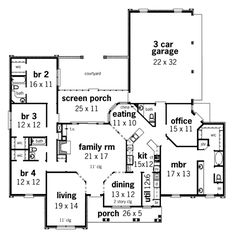 Plan HHF-3596  1 story, 4 bedroom, 3.5 baths