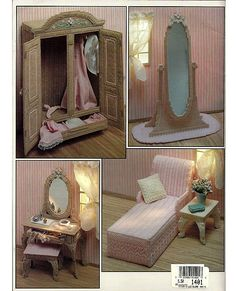 Barbie Furniture, The Boudoir in Plastic Canvas Fashion Doll Playhouse Book 3. $12.00, via Etsy.