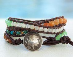 Big+Tree...+Leather+wrap+bracelet...+triple+wrap+por+OceanBead,+$58,00